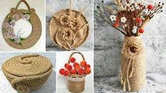 11 ideas of crafts from jute. Gifts with their hands Diy Crafts Hacks, Homemade Crafts, Craft Tutorials, Crafts To Make, Easy Crafts, Craft Projects, Craft Ideas, Jute Flowers, Nylon Flowers
