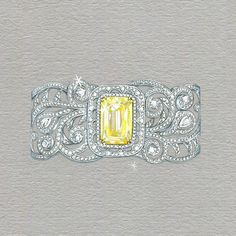 "Boodles on Instagram: ""This ornately decorative cuff is the perfect setting for a large, lemon-yellow 12.62 carat #Ashoka diamond _ #Boodles"""