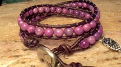 Purple Jasper  Leather Wrap Bracelet by 3dogsdesign on Etsy, $25.00