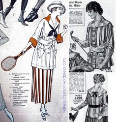 Middy and striped skirt, Delineator 1918; Striped Middy Blouses, Perry, Dame & Co. Catalog, 1917.