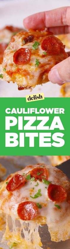 Cauliflower Pizza Bites will totally trick your kids into eating their vegetables. Get the recipe on http://Delish.com.