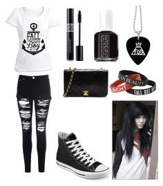 Fall Out Boy emo outfit by amberpend on Polyvore featuring polyvore, fashion, style, Glamorous, Converse, Christian Dior, Essie and Chanel