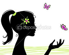 Beautiful girl silhouette with butterfly by prezent - Imagen vectorial