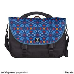 Sea life pattern laptop commuter bag