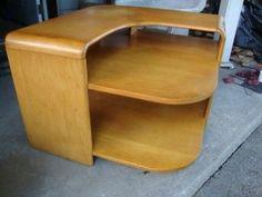 Heywood Wakefield Corner Lamp Table Mid century Modern Original Nice