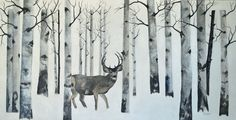Aspen grove large original winter landscape wildlife acrylic painting fine art painting deer large painting home  office decor aspen art by TerriRobertsonArt on Etsy