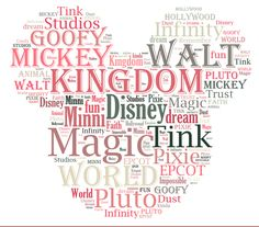 "Free Disney Printable Word Cloud Disney Word Art I love this idea…. I would change the words to reflect our family memories at Disney, but I would leave the outline of the Mickey Ears. I'd print this out but they spelled ""Minnie"" wrong! – Disney Crafts Id Disney Word, Disney Diy, Disney Crafts, Disney Trips, Disney Cruise, Disney Stuff, Disney 2017, Disney Couples, Disney Travel"