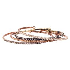 Petite Rhinestone Open Bangle Set by Chloe and Isabel. So pretty! #christmasinjuly