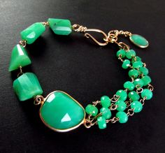 Asymetrical Chrysoprase Bracelet by SurfAndSand on Etsy
