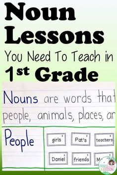 5 Noun Lessons You Need to Teach in Grade - Part 1 Grade 1 Lesson Plan, First Grade Lessons, First Grade Teachers, Lesson Plans, Teaching Nouns, Teaching Language Arts, Teaching Writing, Teaching Ideas, Nouns First Grade