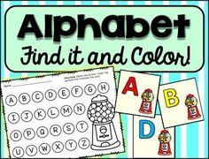 Alphabet Practice, letter matching find and color.You can have students use this in small groups or individual centers.  Students draw a card and color in a gumball on the recording sheet with the color that matches the letter.  They can also use a bingo daubber and dab the letter that matches.