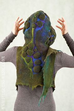 Felted vest - Felted Clothing - Felted Hood - one of a kind - Draconian Scale
