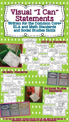 """Visual I Can Statements for your classroom.  Each poster has an I Can statement and a picture display what that standard looks like.  These are great to hang as posters to display that day or week's """"I Can"""" statement, or you can print them smaller to add an """"I Can"""" statement to student math and literacy centers to reflect the skill they are working on.  They can also be displayed in a reading, writing, or math small group.  Nobody can say you aren't teaching the standards! $"""