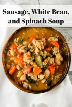 Sausage, White Bean, and Spinach Soup- Slender Kitchen. Works for Clean Eating Gluten Free 2 and Weight Watchers® diets. Healthy Soup, Healthy Eating, Healthy Recipes, Clean Eating, Yummy Recipes, Healthy Smoothies, Healthy Tips, Healthy Meals, Yummy Food