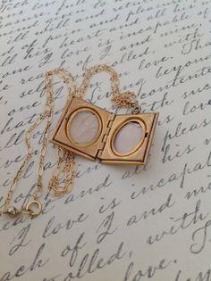 Antique Gold Book Locket Necklace