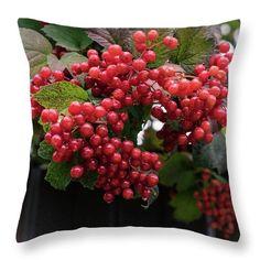 Natalya Antropova Throw Pillow featuring the photograph Red Viburnum by Natalya Antropova #NatalyaAntropovaFineArtPhotography#ArtDecor#HomeDecor#pillow
