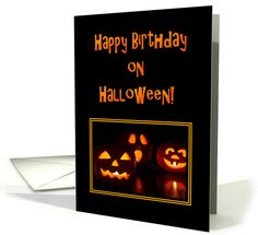 Birthday On Halloween-Carved Pumpkins card