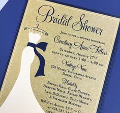 Bridal shower invitation featuring wedding dress illustration by Three Little Birds #weddingdress #bridalshower #illustration #showerinvitation
