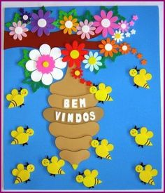 Welcome sign for door Kids Crafts, Bee Crafts, Preschool Activities, Diy And Crafts, Arts And Crafts, Paper Crafts, School Board Decoration, Class Decoration, School Decorations