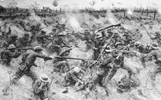 """""""Repulse of a German gas attack southeast of Arras."""" WW1."""