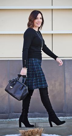 Winter Tweed Skirt Outfit with OTK Boots   Stuart Weitzman Women's Alljill Suede Over-the-Knee Boots   Rebecca Minkoff Mini Perry Satchel   Ann Taylor Button Cuff Sweater   jolynneshane.com #fashionover40 #winteroutfit