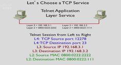 telnet example requesting mac address using arp