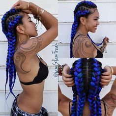 Purple and Blue Goddess Braids Hairstyle