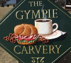 The classic style of text and groove border on this sign were carved with hand chisels and gilded with gold leaf. 3d Signs, Restaurant Signs, Sign Design, Tableware, Dinnerware, Tablewares, Dishes, Place Settings, Restaurant Signage