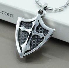 NEW Chrome Silver & Black Dog Tags Knights Shield Cross Mens Pendants Necklace | eBay  170denise  Store:  BUH Buckle Up Here