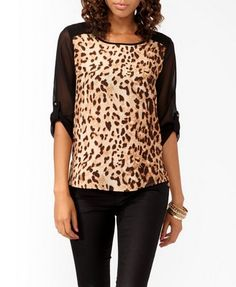 @Savannah Smith Leopard Contrast High-Low Shirt Forever 21