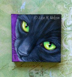 Black Cat Green Eyes Portrait Miniature by ArtbyLisaMNelson