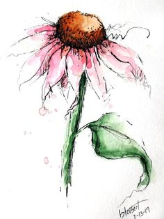 """Original artwork of lovely pink cone flower with a single leaf rendered in pen, ink and watercolor. It is titled """"Pink Cone Flower With Leaf"""" and is signed and dated at the bottom with the title on the back. The warm pink color against the simple white background really makes the"""