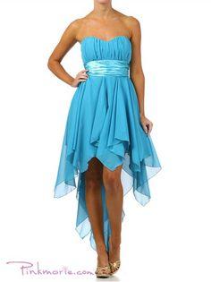 Chiffon Sweetheart Chestline with Satin Waist Prom Dress.$95.99