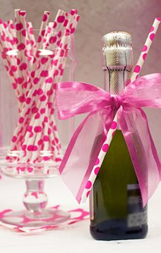 Bachelorette Party Idea - DIY decoration with these pink and white polka dot paper straws!