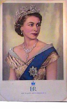 1955 Elizabeth II Royal Portrait. This was the official portrait by Dorothy Wilding issued through the Toronto Daily Star commemorating the Queen's Coronation.