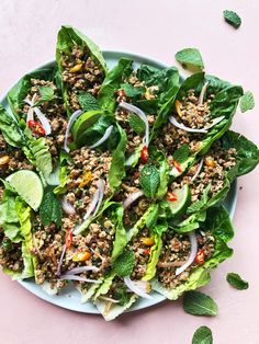 Larb Inspired Pork Lettuce Cups with Fresh Herbs Cheesecake Cupcakes, Herb Recipes, Dinner Recipes, Lunch Recipes, Red Velvet, Lettuce Recipes, Salad Recipes, Authentic Thai Food, Pork Salad