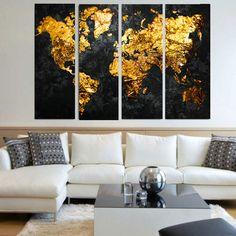Τετραπτυχος πινακας σε καμβα Pure Gold - Ninesix.gr
