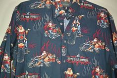 Redhead North Pole Chopper Santa Shirt Mens Size L Long Sleeves Brushed Cotton #RedHead #ButtonFront