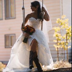 So cute-- cowboy boots underneath wedding dress! Love it! #sweetweddings