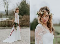 This stunning dress from Ellie Lowe is ideal for #bohobrides. Image © Chris Scuffins. #cotswoldwedding #wedding #bridal #weddingdresses