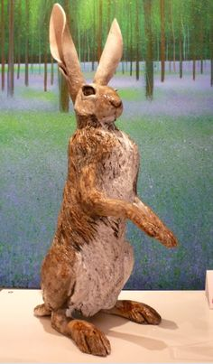 'Hare on haunches' low fired raku clay sculpture from Nick Mackman now at www.lyndhurstgallery.co.uk