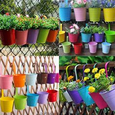 Candy Colors Flower Metal Hanging Pots Garden Balcony Wall Vertical Hang Bucket Iron Holder Basket With Removable Tin Home Decor-In Flower Pots and Planters From Home and Garden On Alibaba Group Hanging Flower Pots, Hanging Planters, Planter Pots, Fence Planters, Garden Crafts, Garden Projects, Bucket Gardening, Gardening Hacks, Hydroponic Gardening