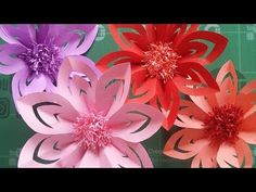 DIY | Wanddeko Papierblumen basteln | Easy Paper flower wall decoration | Wall art - YouTube