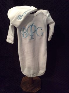Monogrammed Gown, Boys Gown, Home from Hospital Outfit, Baby Gown, Baptism Gown by TWINSANDQUINN on Etsy https://www.etsy.com/listing/225802301/monogrammed-gown-boys-gown-home-from