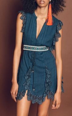 Amy V Neck Lace Mini Dress by TRYB212 for Preorder on Moda Operandi