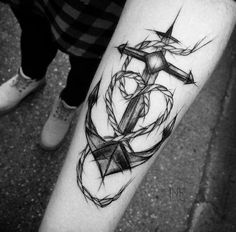 Sketch Style Anchor Tattoo by Inez Janiak