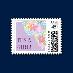 A variety of graphic flowers is placed in a bunch on the top right corner of this pretty new baby postage stamp. Add a special message against the pale purple background.