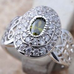 Peridot & Zircon Sterling Silver ring 925 size 7.5 filigree August birthstone #Unbranded #Cocktail