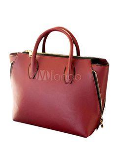 Forma horizontal Zipper PU couro Tote Bag para mulheres - Milanoo.com