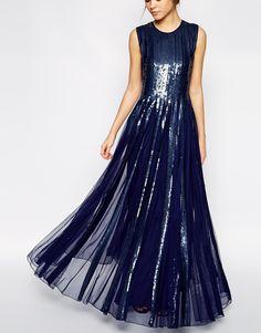 gooooorgeus - navy sequin embellished maxi dress